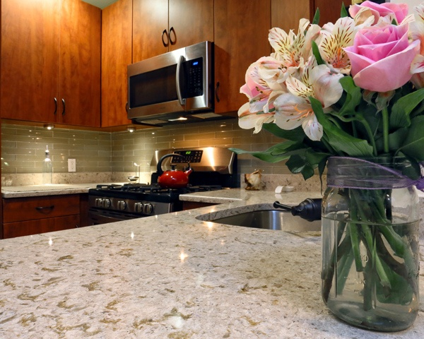 Quartz Kitchen Countertop and Tile Backsplash