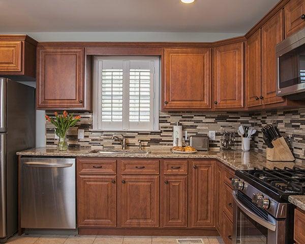 White Horizontal Shutter-Style Kitchen Window Blinds