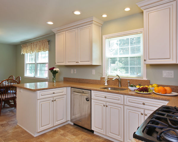 White Transitional Kitchen with Four Inch Backspash
