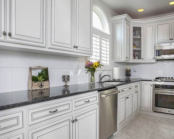 White Kitchen Cabinets with Black Glaze