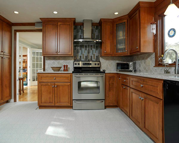 Kitchen with Wood Cabinets with Cool Accents