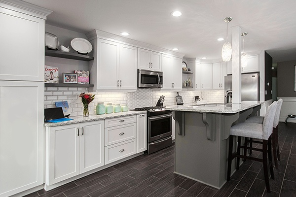 White Kitchen with Contrast Gray Island