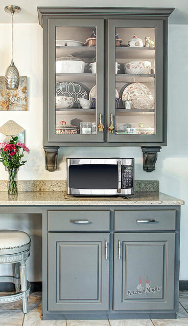 grey laminate glass cabinets | Kitchen Magic