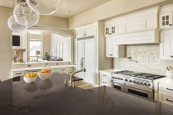 Corian quartz dark and light kitchen countertops
