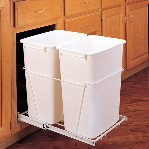 double trash pull-out kitchen storage