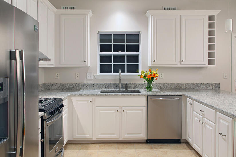 Refaced Kitchen with Frosty White Prestige Square Doors and Cambria Quartz Countertops