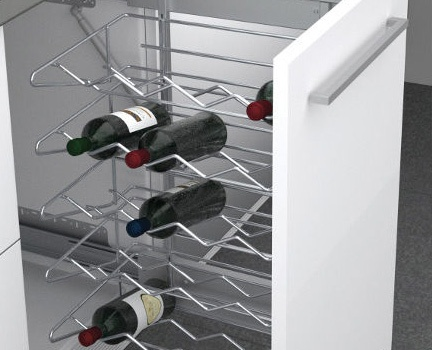 Touch to open trash or wine rack