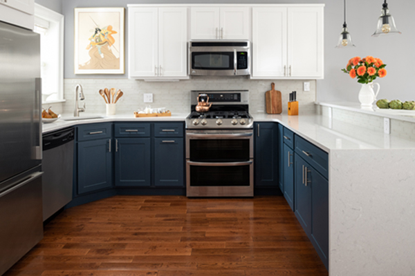 blue and white kitchen design