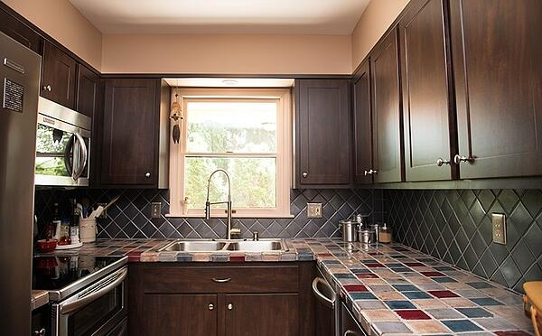 Small Galley Kitchen with Dark Cabinets
