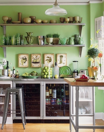 Green Kitchen with a Variety of Plants