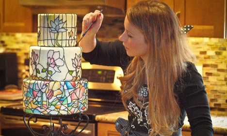 Amy Cozze Designing a Stained Glass Wedding Cake in her Kitchen