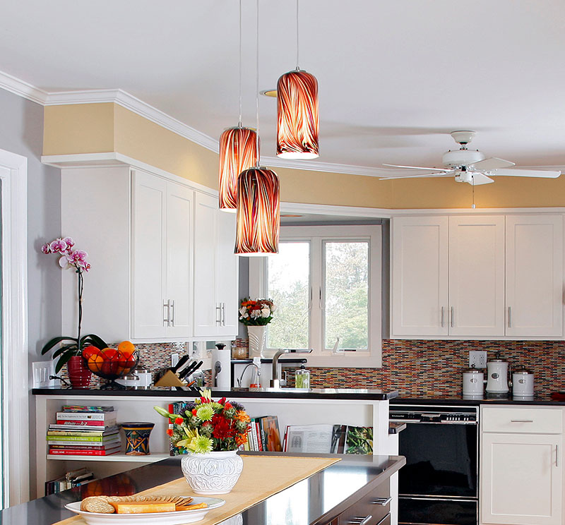 Pendant Lights in a White Kitchen