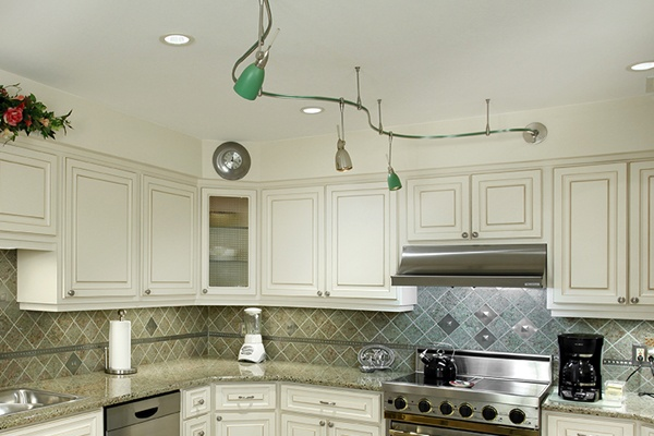 Track Lighting in a White Kitchen