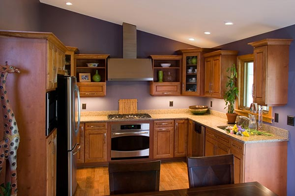 Wood Kitchen with Under Cabinet Lighting
