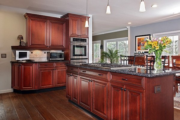 Paint color with Cordovan on Cherry Cabinets with a Sabel Glaze