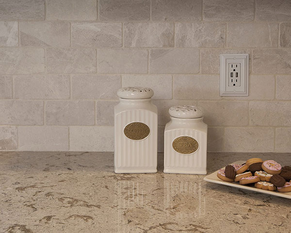 tumbled ceramic tile backsplash