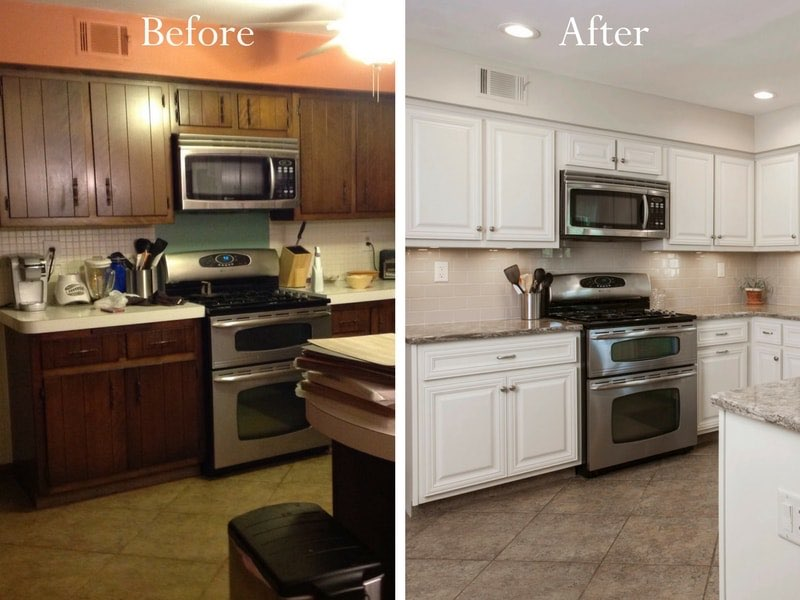 cabinet refacing before and aftfer