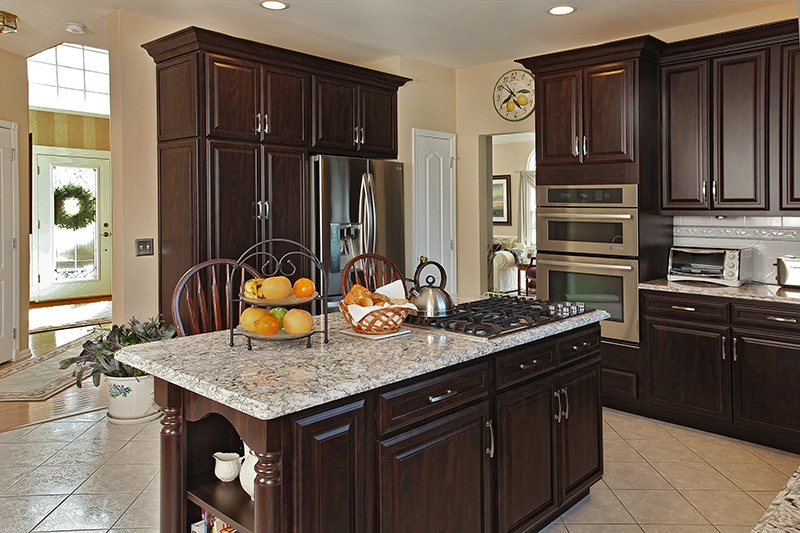 Beau Chocolate Pear Cabinets On Kitchen Island