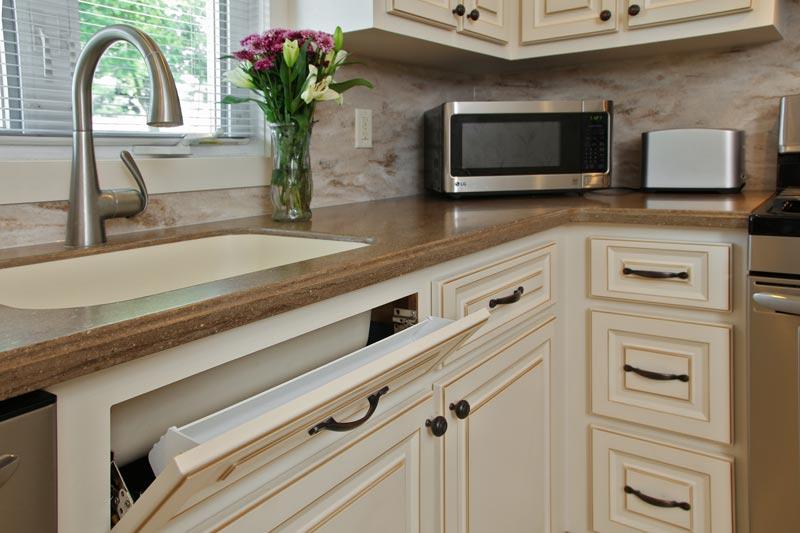 walnut-glazed white cabinets